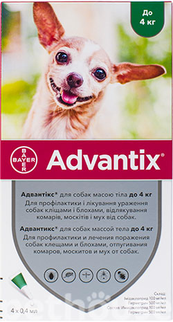Bayer Advantix для собак до 4 кг, фото