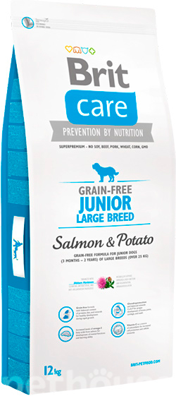 Brit Care Grain Free Junior Large Breed Salmon & Potato, фото