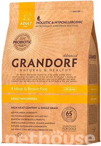 Grandorf 4 Meat & Brown Rice Adult Mini Breeds