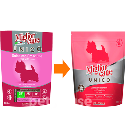 Migliorcane Unico Adult Small Breed Pork with Ham, фото 2