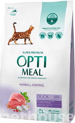 Optimeal Cat Adult Duck Hairball Control , фото