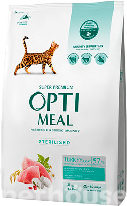 Optimeal Cat Adult Sterilised Turkey, фото