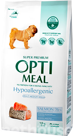Optimeal Dog Adult Medium Hypoallergenic, фото