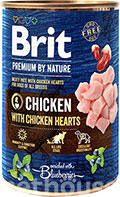 Brit Premium by Nature з куркою та курячими сердечками для собак