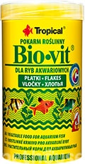 Tropical Bio-vit - основной корм для растительноядных видов рыб, хлопья